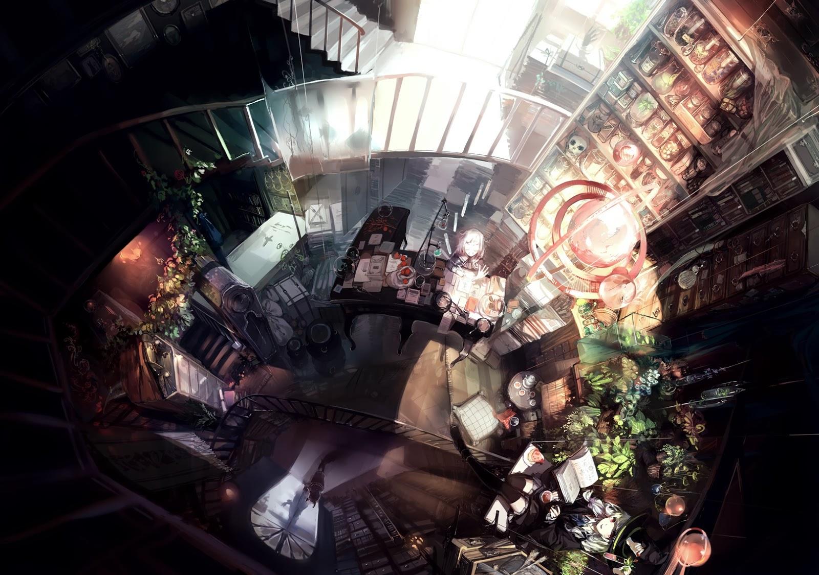 Anime Wallpaperanime Librarycool Wallpaper Dark Creepy Library Scenery