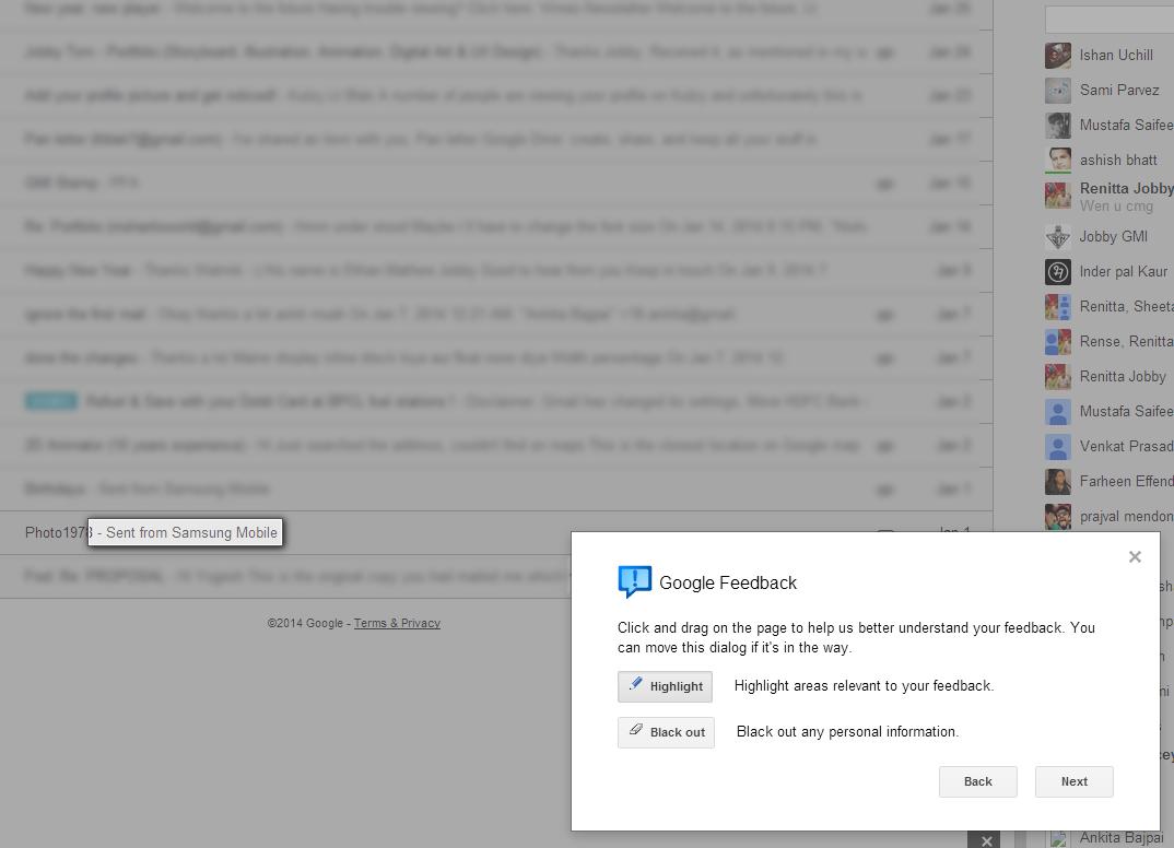 Lt Blak highlights Gmail feedback
