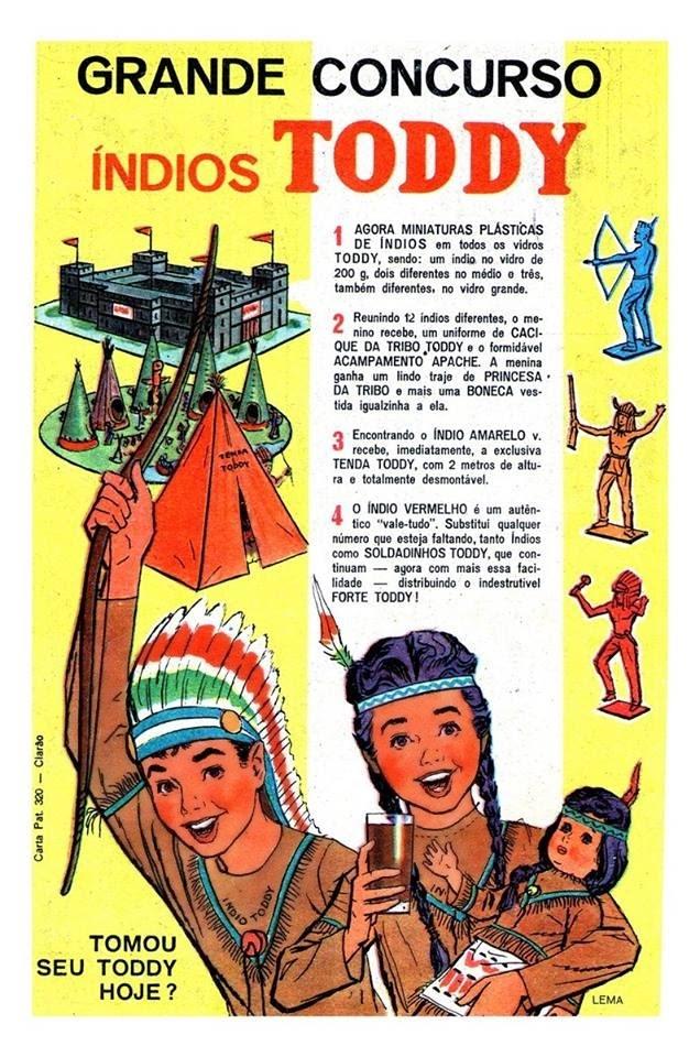 Propaganda do Toddy em 1967 com coleção de pequenos índios de plástico.
