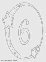 Mewarnai angka 6 bergaya bulan dan bintang