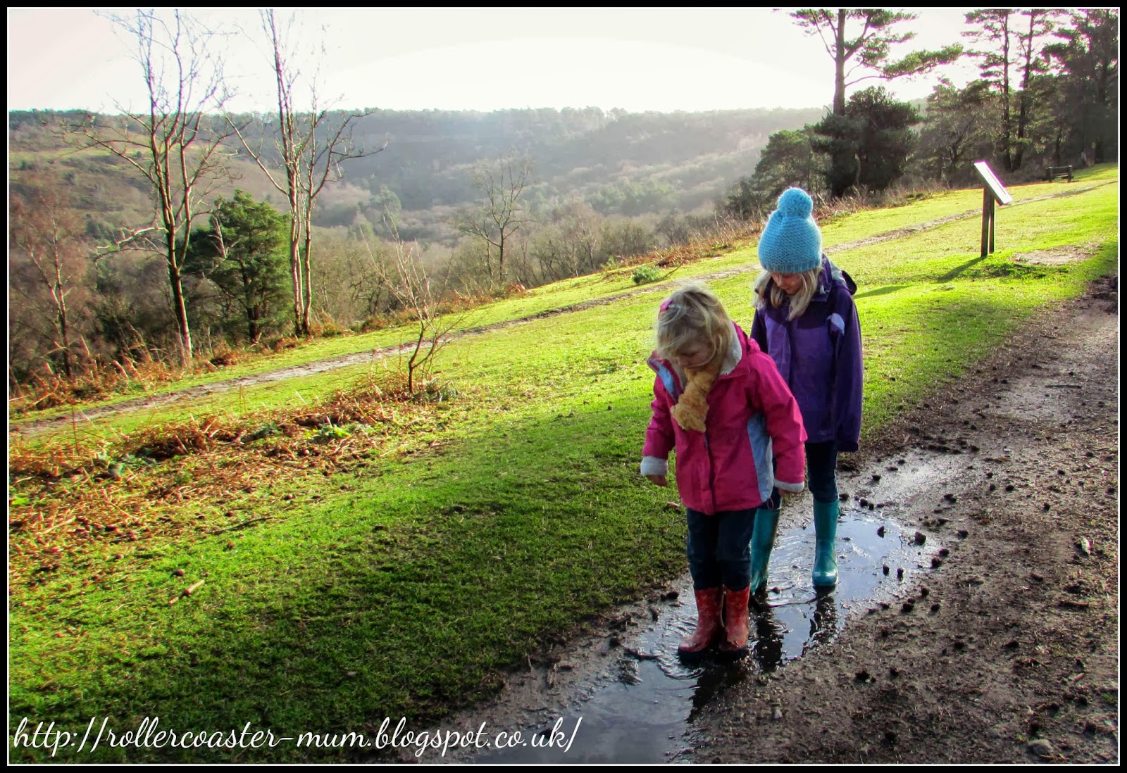 puddle paddling, National Trust Surrey Hills, Devil's Punch Bowl