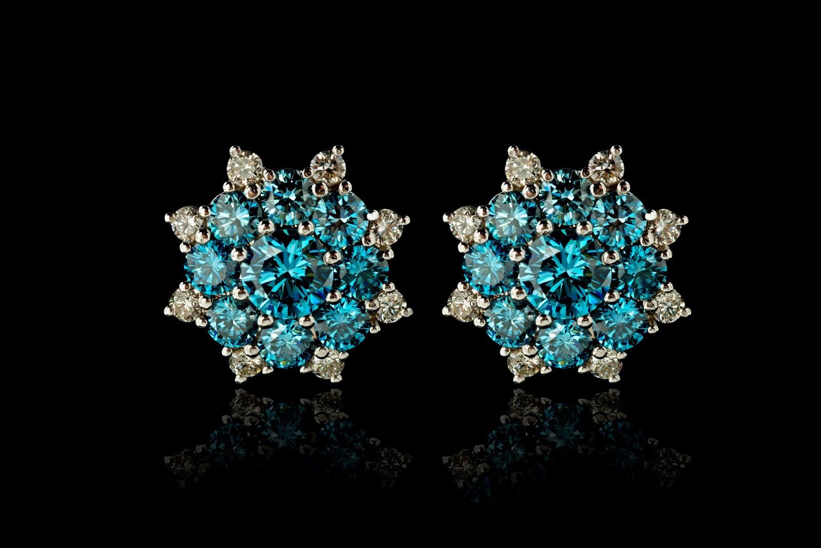 The eureka diamond - Close Up View Of The Blue Diamond Stud Earrings