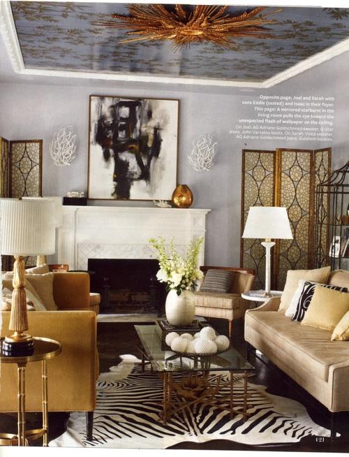 hollywood hills home living room bedroom vibrant color modern regency
