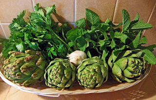 Artichokes in Basket with Parsley, Mint, and Garlic