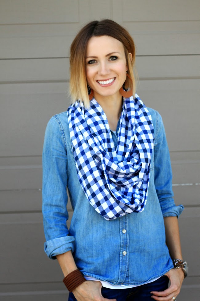 Denim on denim with a gingham infinity scarf