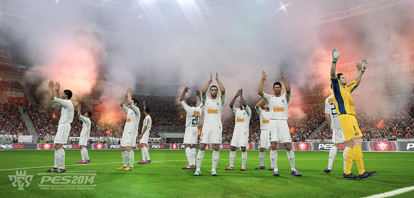 Foram reveladas as primeiras screenshots do Pro Evolution Soccer 2014 mostrando a equipe do Santos vs. Bayern de Munique