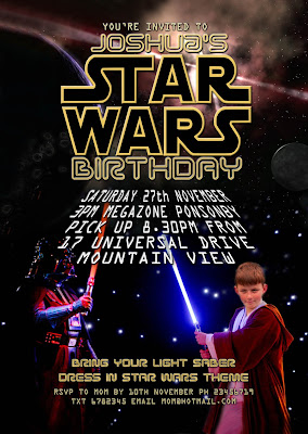 Star Wars Personalized Invitation  with photo
