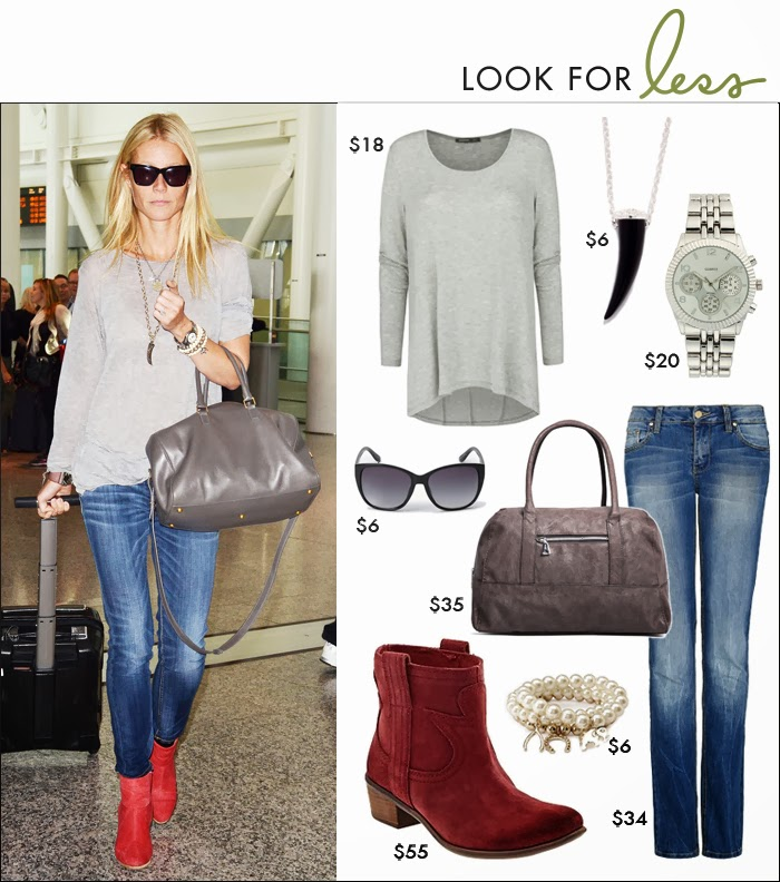 Gwyneth Paltrow airport style, look for less, holiday shopping, what to wear for travel, what to wear black friday, red booties, bowling bag, skinny jeans, casual tee