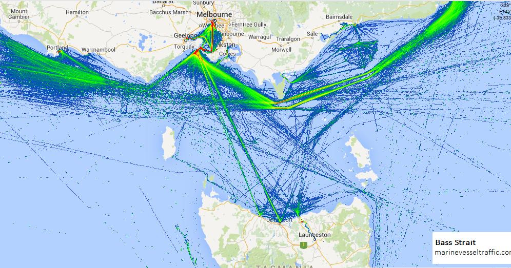 Bass Strait Ship Traffic Tracker Marine Vessel Traffic