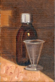 Oil painting of a brown cough medicine bottle with a plastic measuring cup.