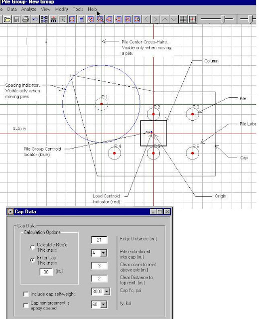 Pile cap analysis and design program from S.E Software