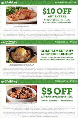 Carraba's Italian Grill Printable Restaurant Coupons