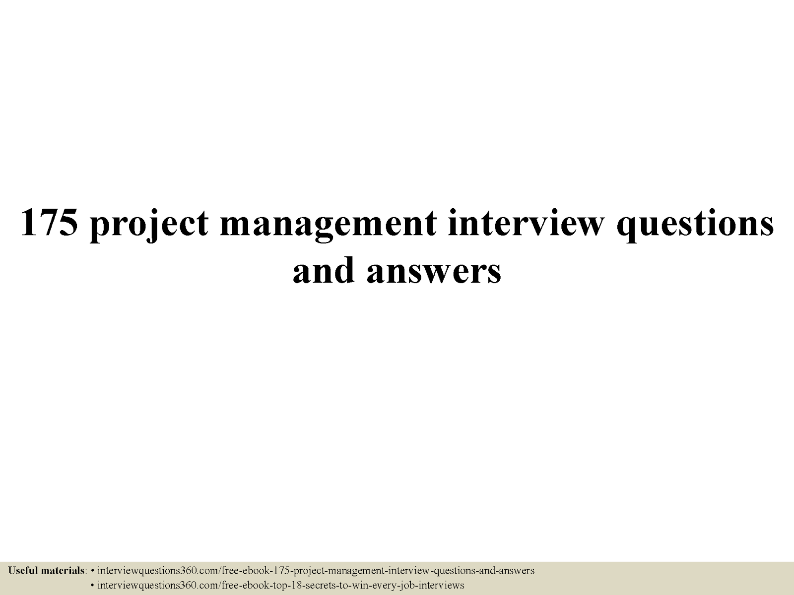 2016 project management interview questions and answers