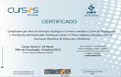 Certificado do Cursos 24 Horas