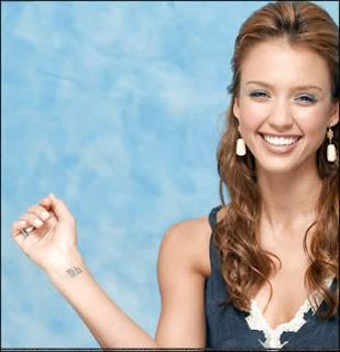 Jessica Alba closer look tattos