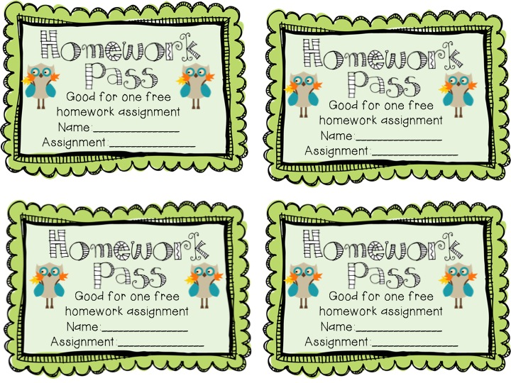 Fancy Free in 4th: Seasonal and Holiday Homework Passes