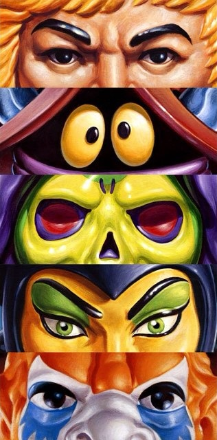 "MondoCon 2015 Exclusive Masters of the Universe ""Eyes Without A Face"" Prints by Jason Edmiston - He-Man, Orko, Skeletor, Evil-Lyn & Beast Man"