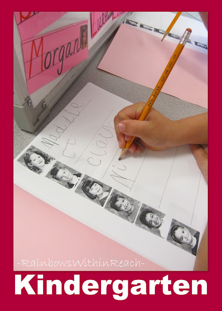 photo of: Kindergarten writing center using student names, Kindergarten fine motor