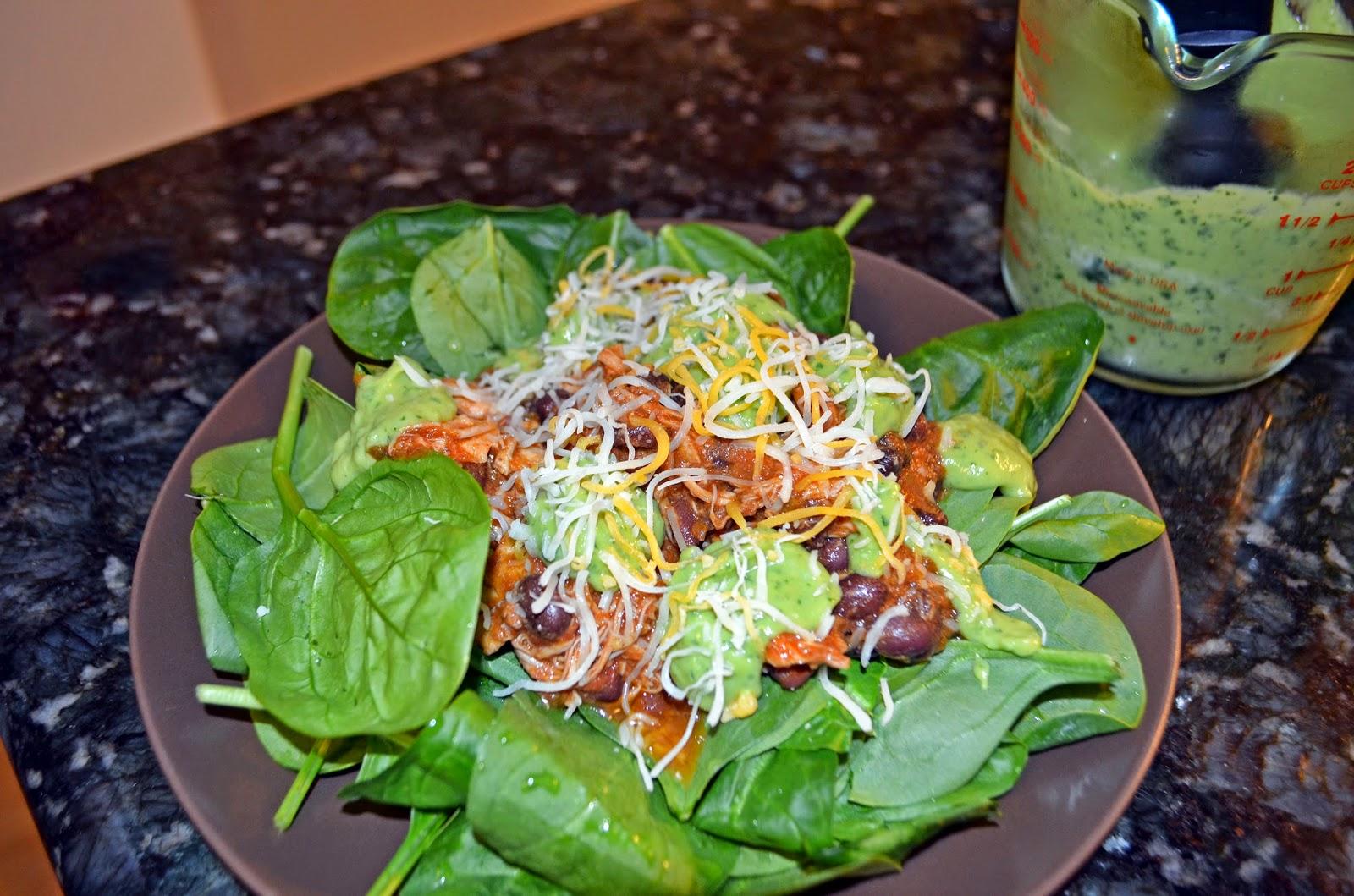 ... taco salad with a zesty avocado cilantro buttermilk dressing. Amazing