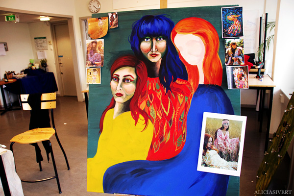 aliciasivert, alicia sivertsson, self portrait, självporträtt, mars, acryl, akryl, portrait, porträtt, tre kvinnor, three women, honky tonk women, hippie, peace, paint, sixties, 60's, sextiotal, 60-tal