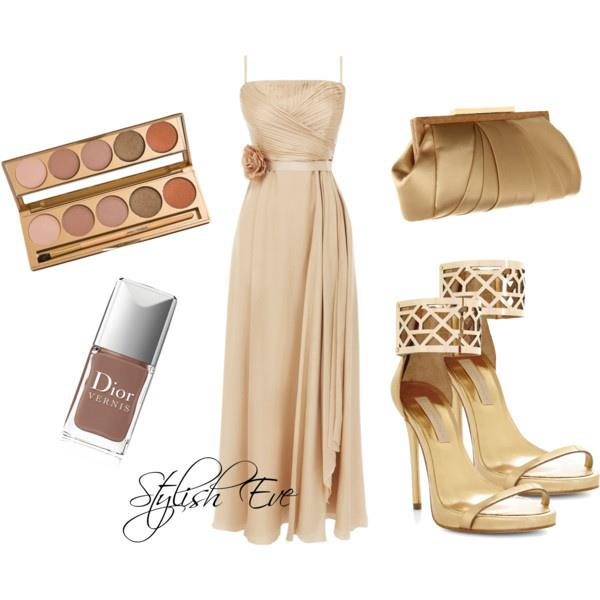 Light golden wedding gown, high heel sandals, hand bag and makeup accessories for ladies