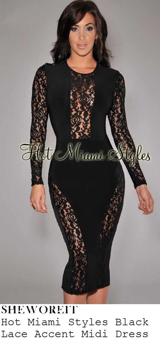 aubrey-oday-black-floral-lace-long-sleeve-midi-dress
