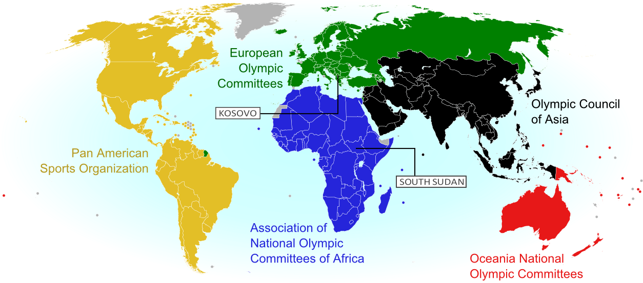 How many countries are there in the world in 2018 political world map showing the five continental associations of national olympic committees including all nations eligible gumiabroncs