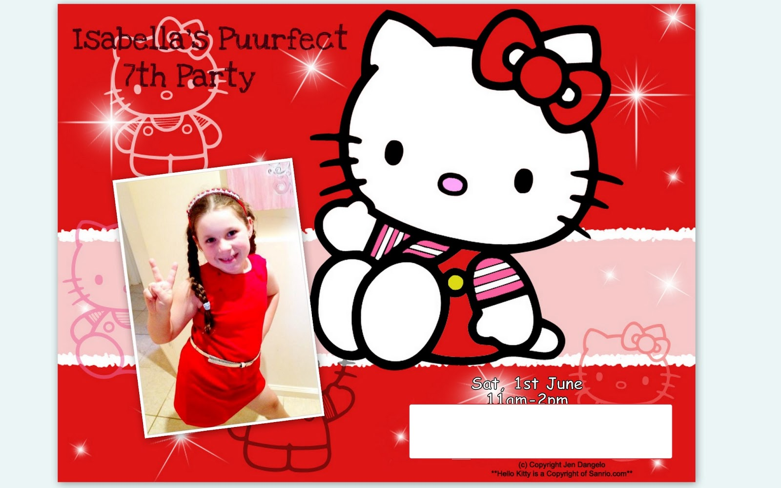 One mummys musings isabellas hello kitty 7th birthday party the party invitation stopboris Image collections