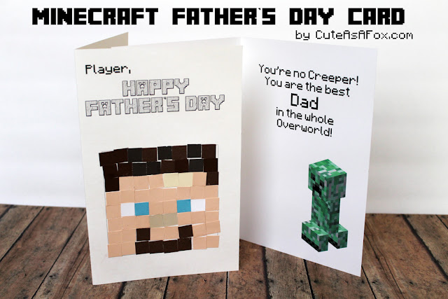 Minecraft Father's Day Card with Template