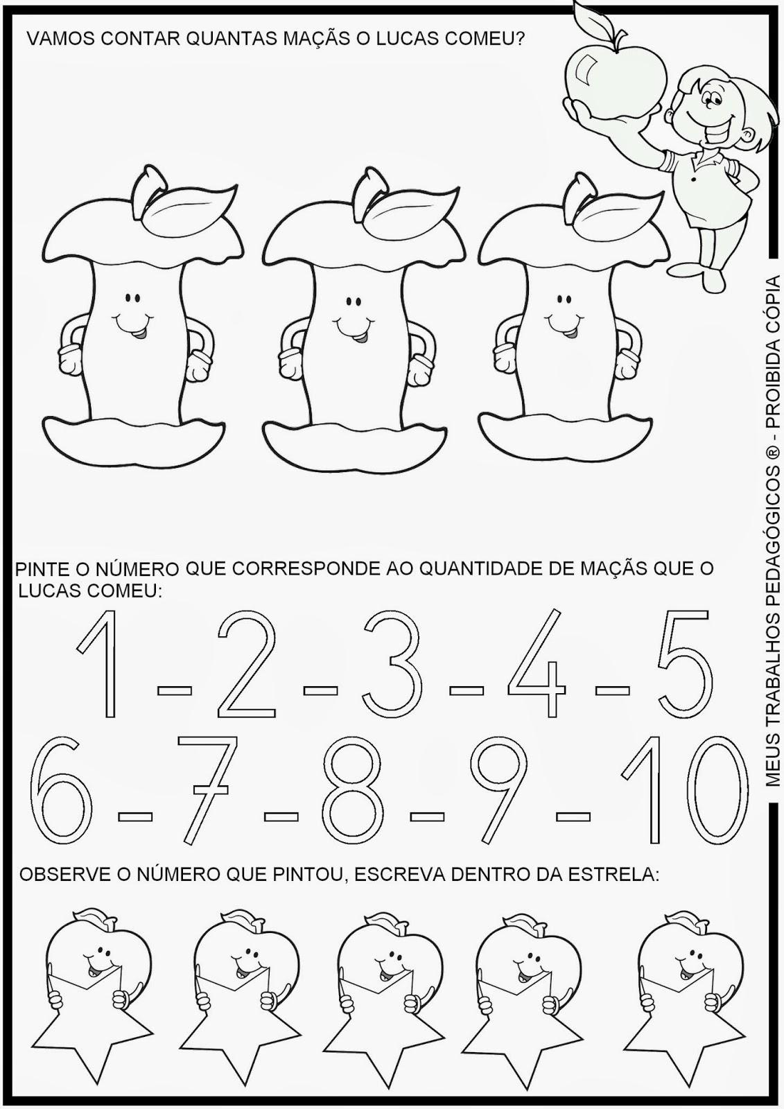 atividades alfabetizacao jardim horta pomar:Atividades prontas para imprimir: Atividades de matemática – contando