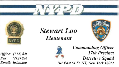 Open letter to mayor bloomberg nypd officers helped ccp for Nypd business cards