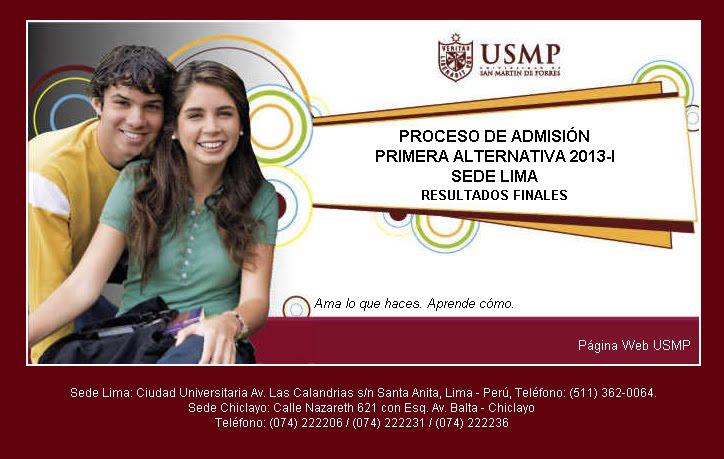Ingresantes resultados Universidad de San Martin de Porras 2013 I Ingresantes 23 de Setiembre