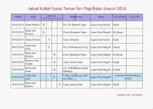 Jadual Kuliah Febuari 2014