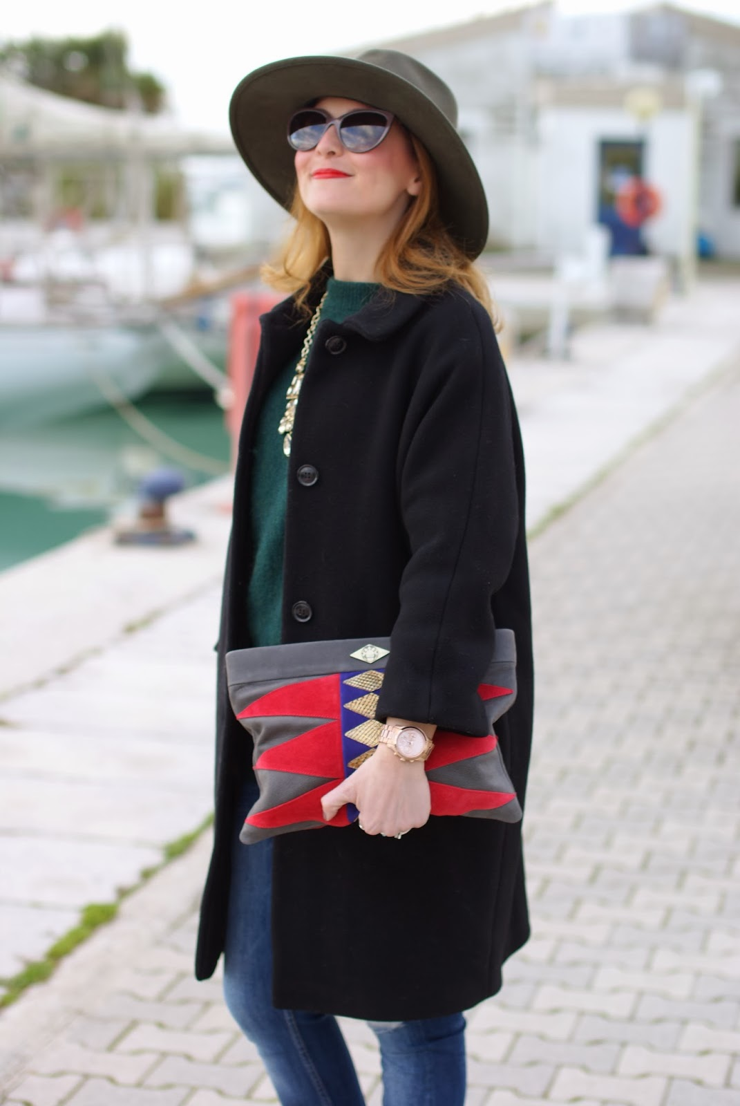 Ecua-Andino australian hat, Kiomi black coat, Mohekann Navajo clutch, Fashion and Cookies, fashion blogger