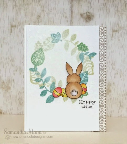 Hoppy Easter Bunny Card with Wreath by Samantha Mann | Bunny Hop Stamp set by Newton's Nook Designs