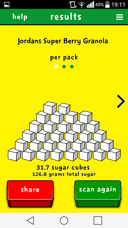 Digital examples visualising sugar content in food with the sugar smart app - Five smart uses of sugar ...