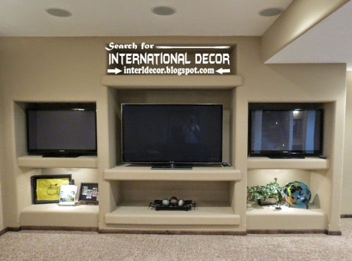 built in shelves and corner shelves of plasterboard, TV unit