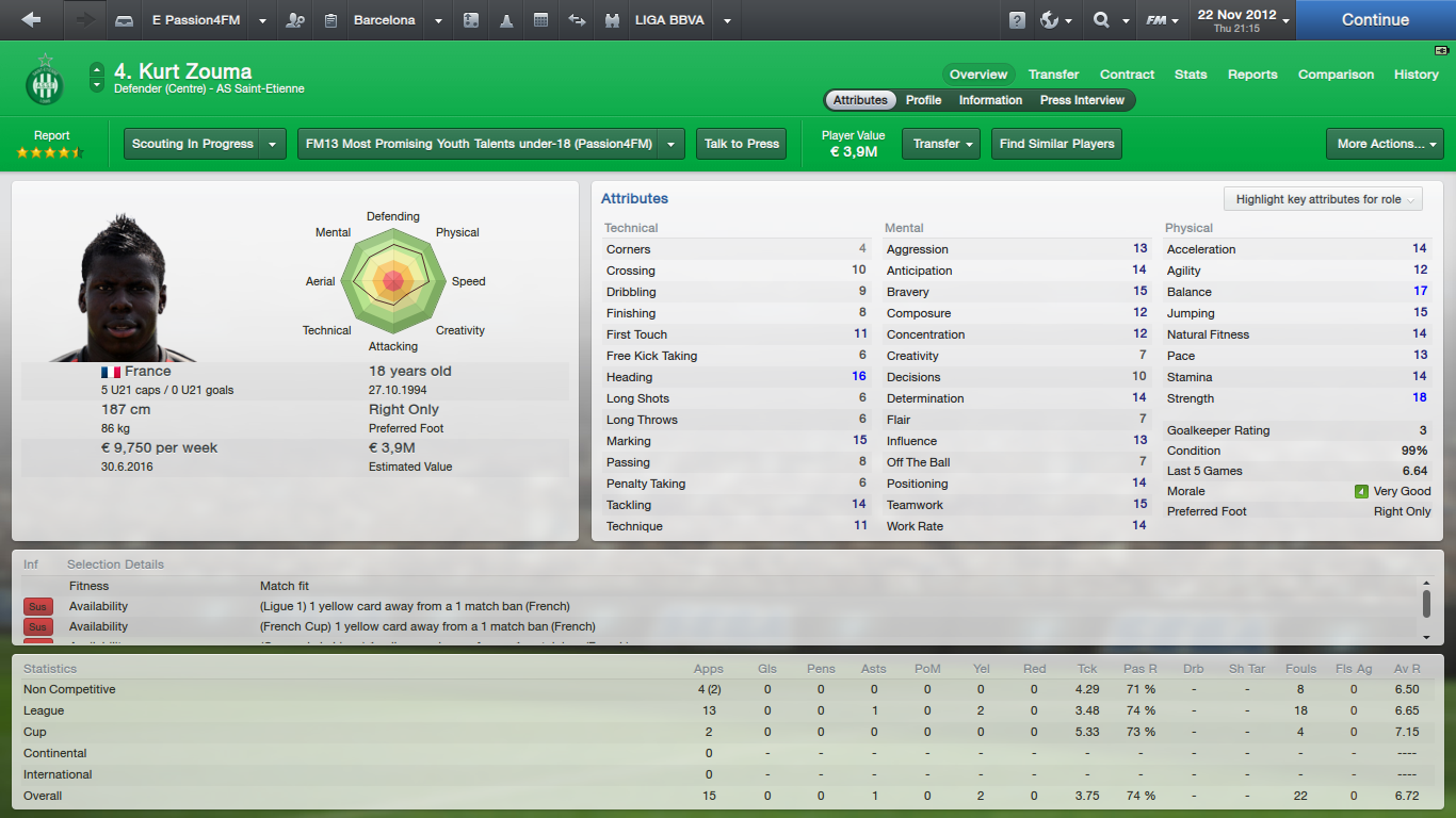 Football Manager 2013 Profile Kurt Zouma