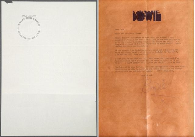 Steve McQueen David Bowie letterhead