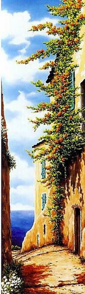 cuadros de paisajes-rusticos-con-flores