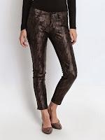 Pantaloni lungi, negri, imitatie piele de sarpe (Top Secret)