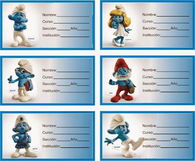 etiquetas para cuadernos de los pitufos
