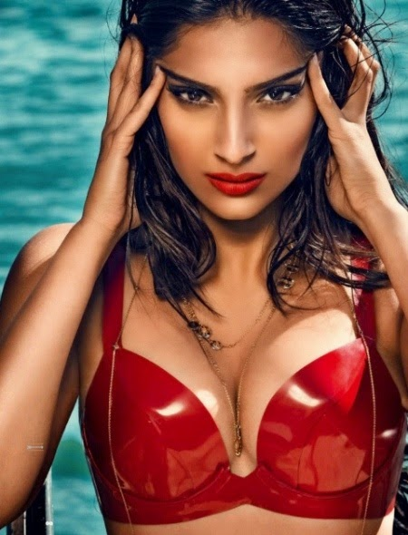 Sonam Kapoor red hot dress wallpaper, Sonam Kapoor bra wallpaper, Sonam Kapoor bathing images, Sonam Kapoor bobs images