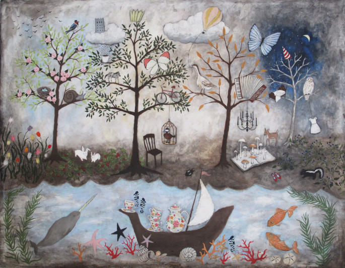 My never ending daydream quirky art for Anthropologie enchanted forest mural