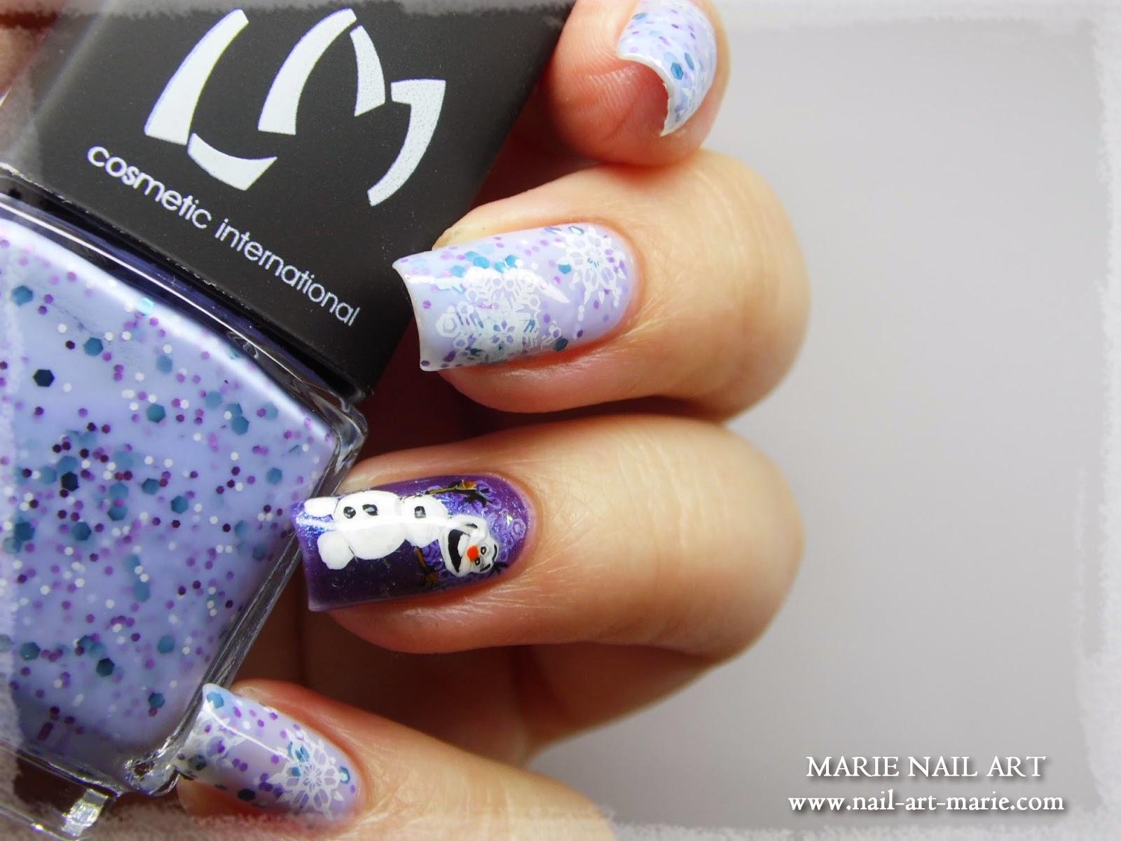 nail art reine des neige Olaf6