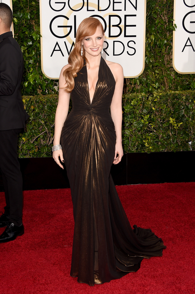 Jessica Chastain in Versace at the Golden Globes