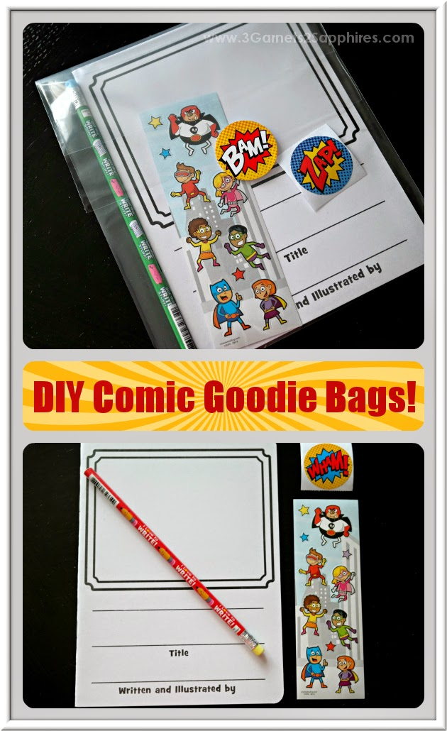 Make-your-own comic book writing activity goodie bags for classroom and birthday party favors  |  www.3Garnets2Sapphires.com