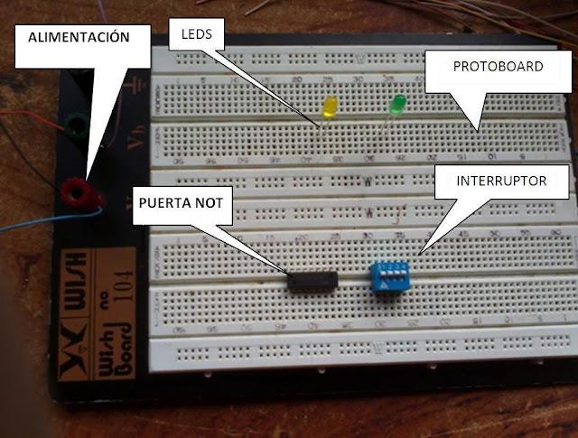 Circuito Not : Fp kanarias circuito en protoboard puerta not ls