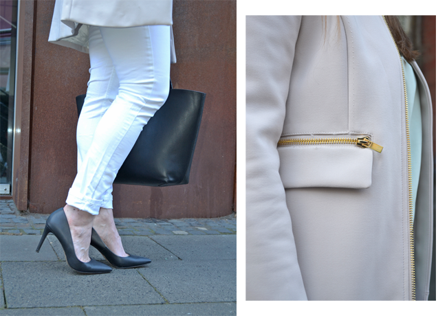 White Jeans Black High Heels Shopper