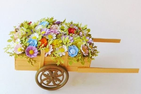 Tractor Carrying Flowers - Rustic Gifts